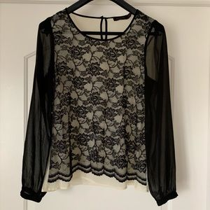 Limited sheer black/cream lace blouse